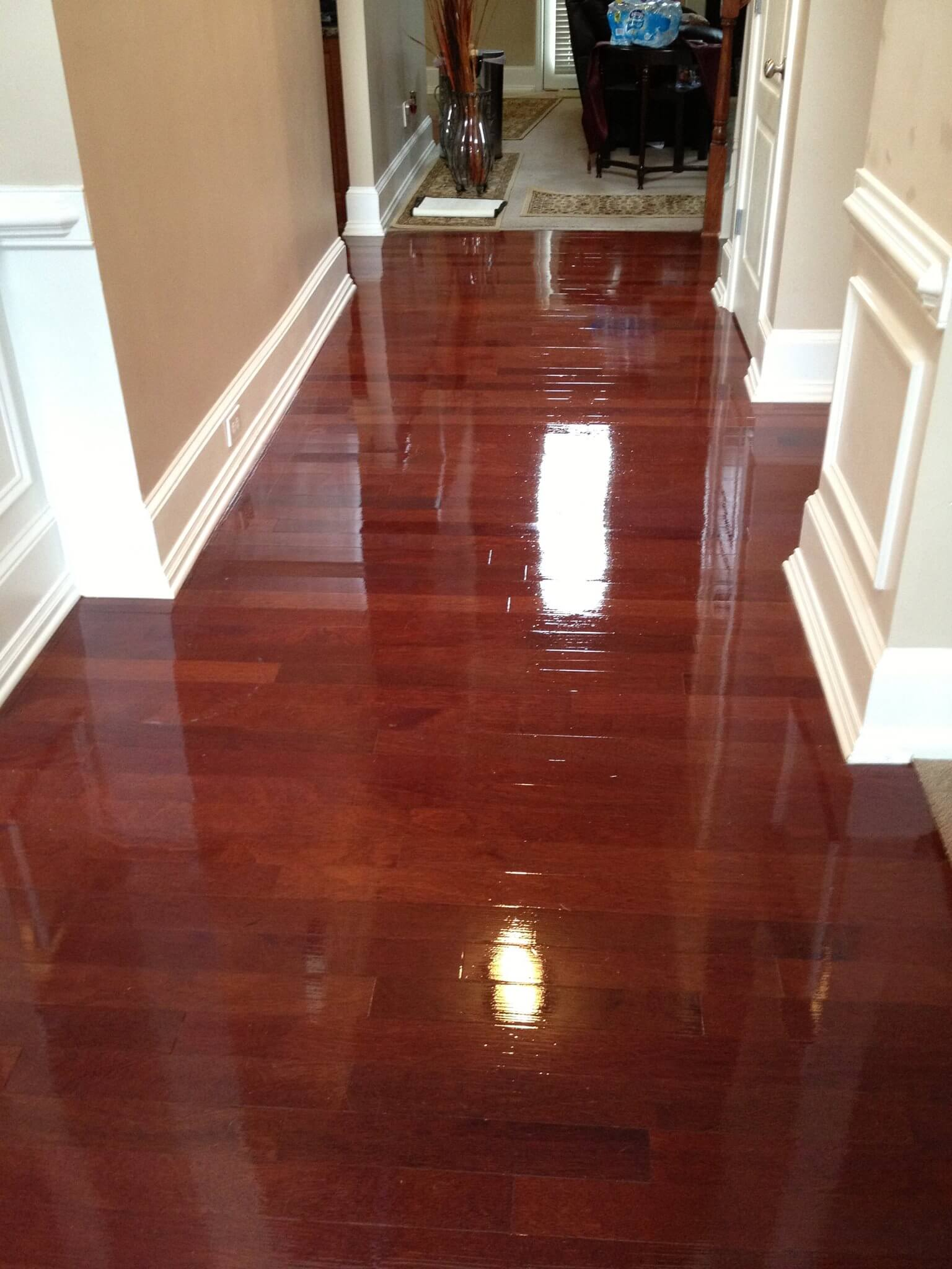 a restained and refinished wood floor in tuscaloosa