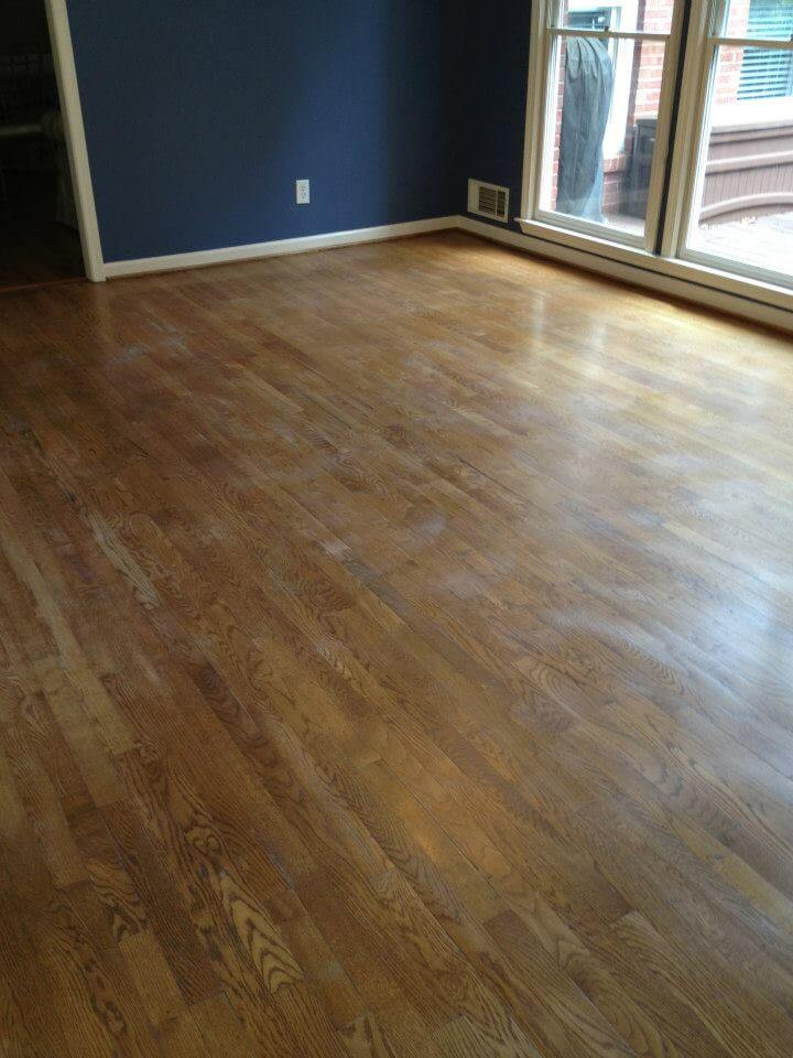A lightly damaged wood floor in Huntsville, AL