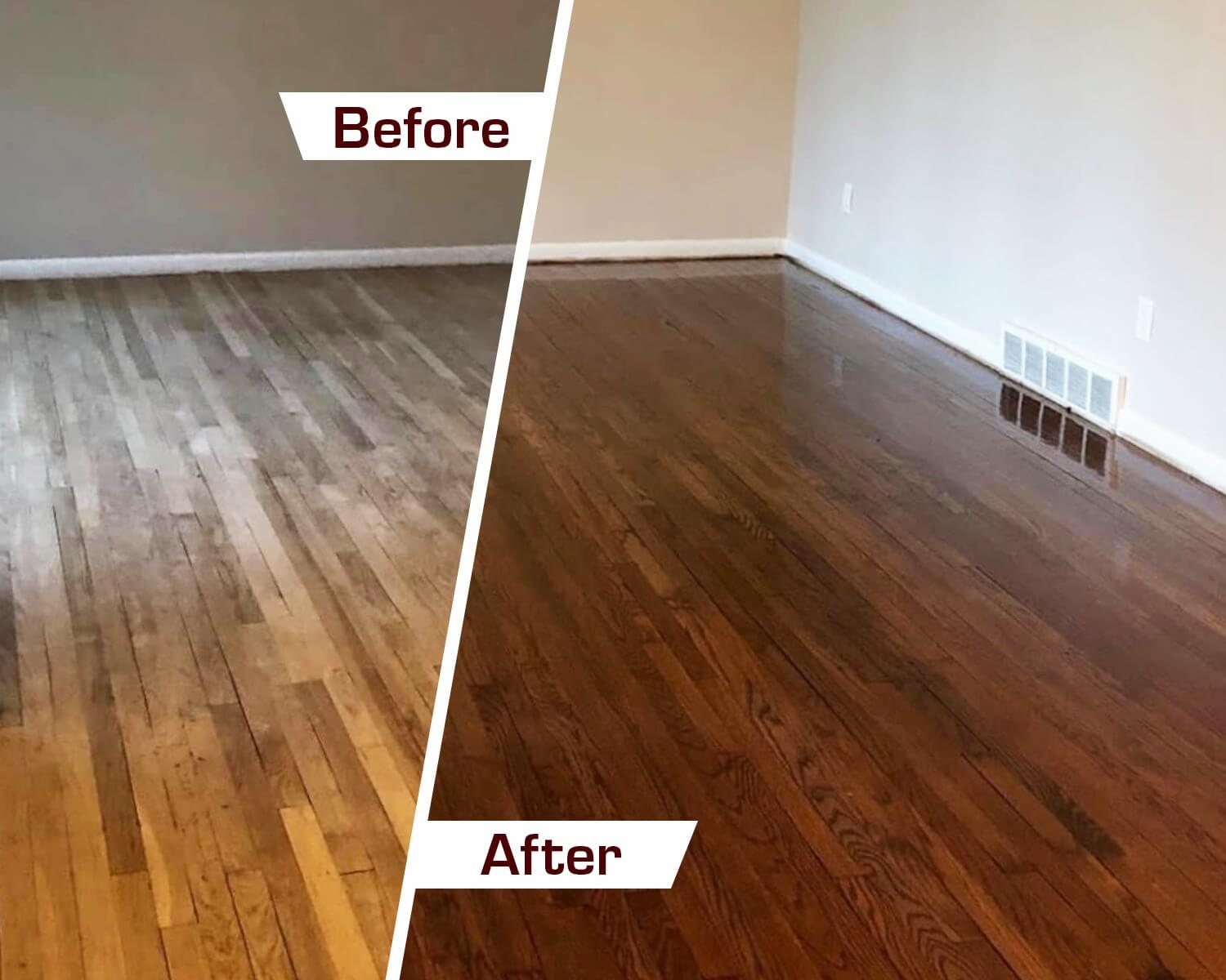 Before and after wood floor refinishing in Birmingham, AL