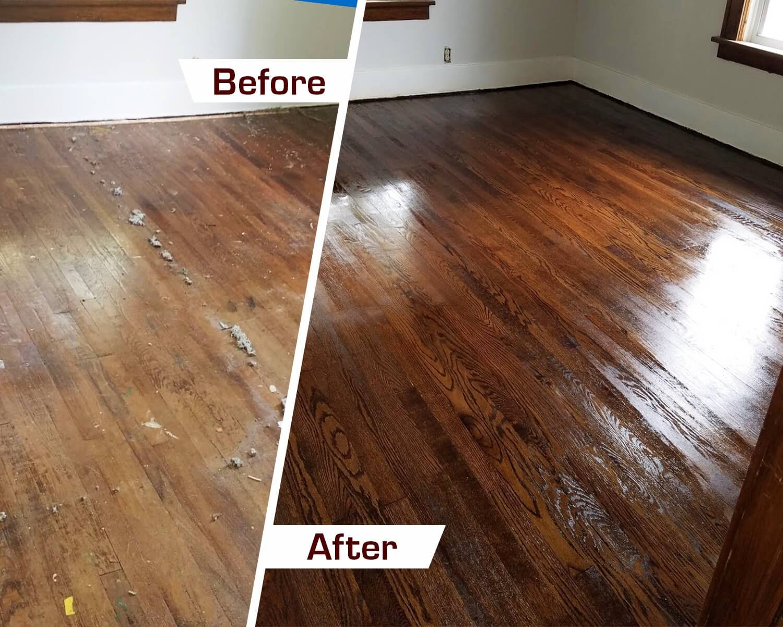 hardwood floor refinishing before and after Tuscaloosa, AL
