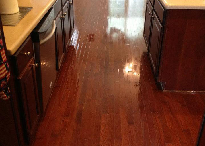 A freshly refinished hardwood floor