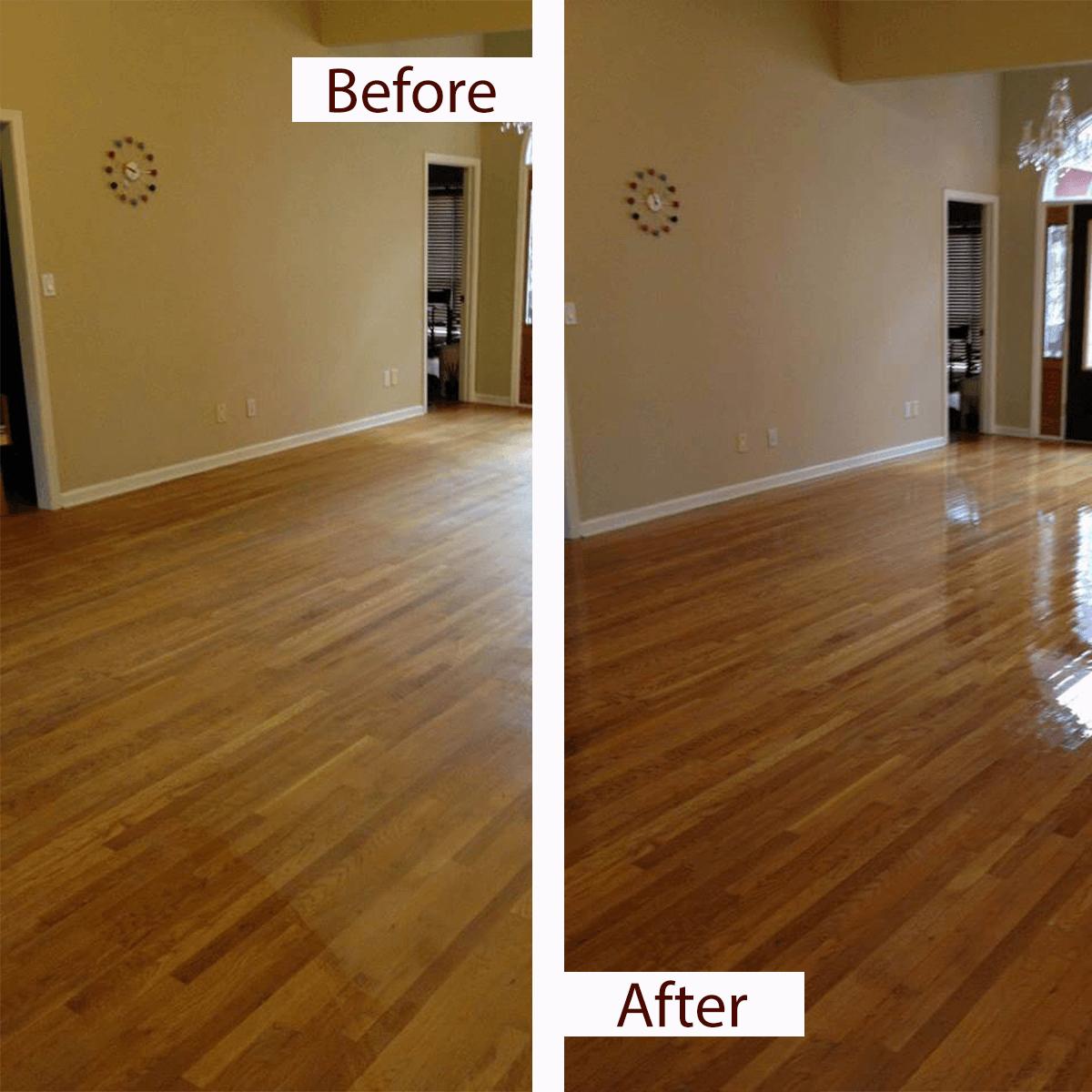 before and after hardwood floor resurfacing in Huntsville, AL