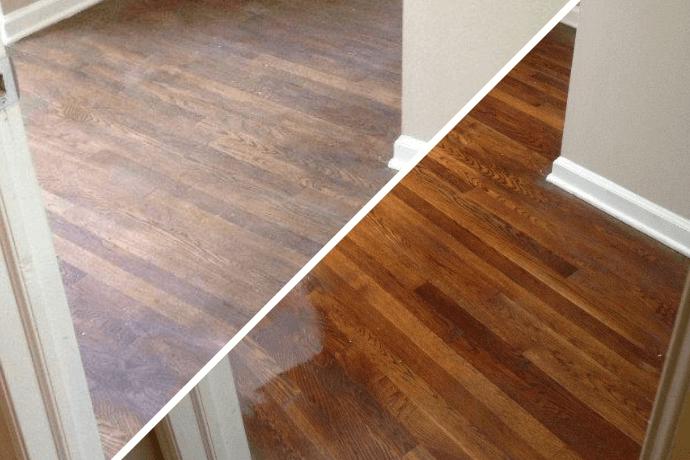 Before/after hardwood floor refinishing in Huntsville, AL