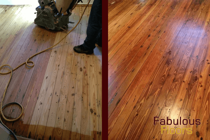 Before and after hardwood floor refinishing in madison, al