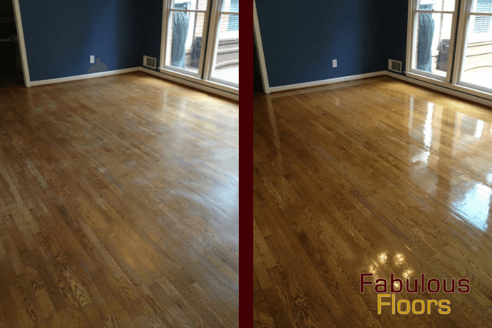 before and after hardwood floor refinishing in Montgomery, AL