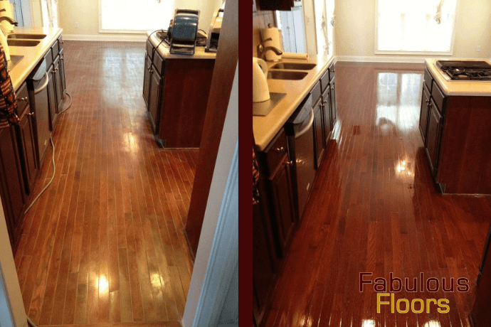 Before and after hardwood floor refinishing in Auburn, AL